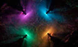 4 Rotaciones con diferentes colores de fondo y vapor como humo
